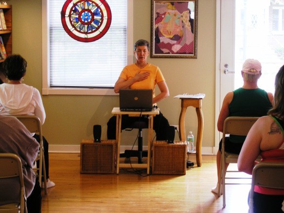 Laurie Teaching Breathwork by Len Buchanan