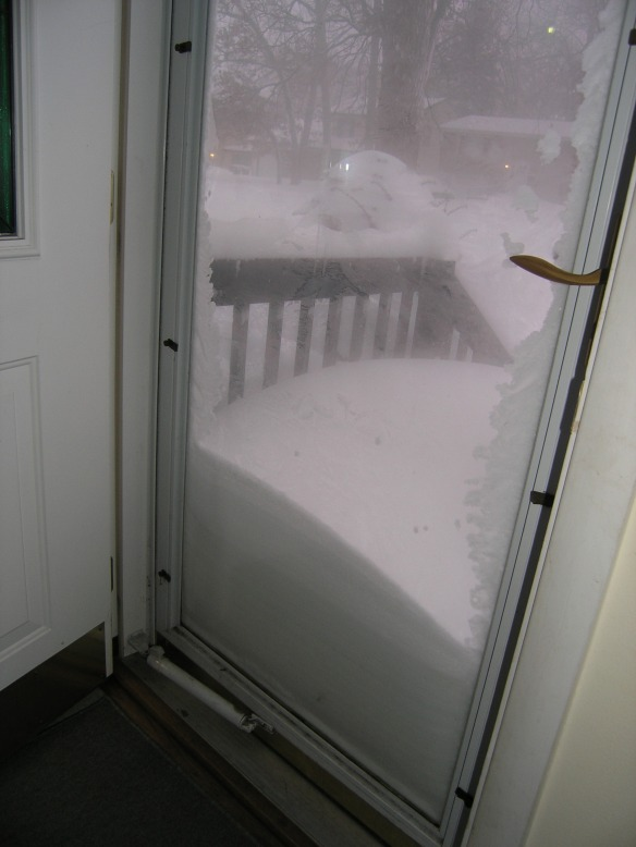 Snow-laden front porch